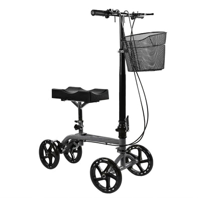 Clevr Medical Foldable Steerable Knee Walker Scooter with Basket, Silver (CL_CRS401101) - Main Image