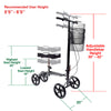 Clevr Medical Foldable Steerable Knee Walker Scooter with Basket, Silver (CL_CRS401101) - Alt Image 3