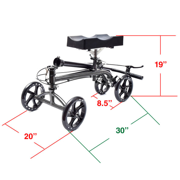 [product_tag] , Clevr Medical Foldable Steerable Knee Walker Scooter with Basket, Silver - Crosslinks