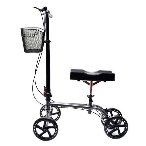 Clevr Medical Foldable Steerable Knee Walker Scooter with Basket, Silver (CL_CRS401101) - Alt Image 2