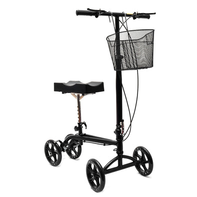 Clevr Medical Foldable Steerable Knee Walker Scooter with Basket, Black (CL_CRS401103-upgraded) - Main Image