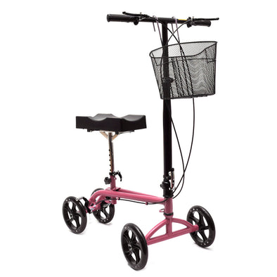 Clevr Medical Foldable Steerable Knee Walker Scooter with Basket, Pink (CL_CRS401104-upgraded) - Main Image