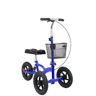 Clevr All Terrain Foldable Medical Steerable Knee Walker Scooter Roller Crutch Alternative, Blue (CL_CRS401131) - Main Image