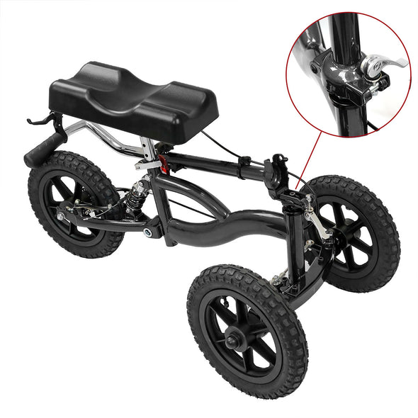 Clevr All Terrain Foldable Medical Steerable Knee Walker Scooter Roller Crutch Alternative, Black (CL_CRS401132) - Alt Image 7