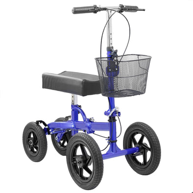 Clevr Quad Wheel All Terrain Foldable Medical Steerable Knee Walker Scooter Crutch Alternative, Blue (CL_CRS401133) - Main Image