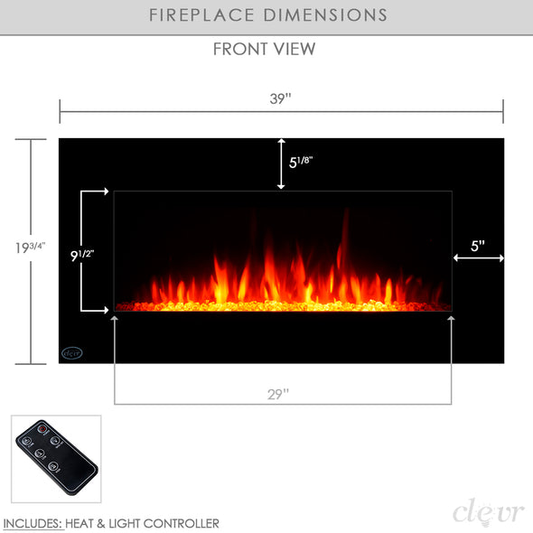 "Clevr 39"" Adjustable Glass Electric Wall Mount Fireplace Heater Stone Colors with Backlight, Black (CL_CRS501934) - Alt Image 3"