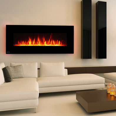 "Clevr 48"" Adjustable Electric Wall Mount Fireplace Heater Stone Colors with Backlight, 750-1500W (CL_CRS501931) - Main Image"