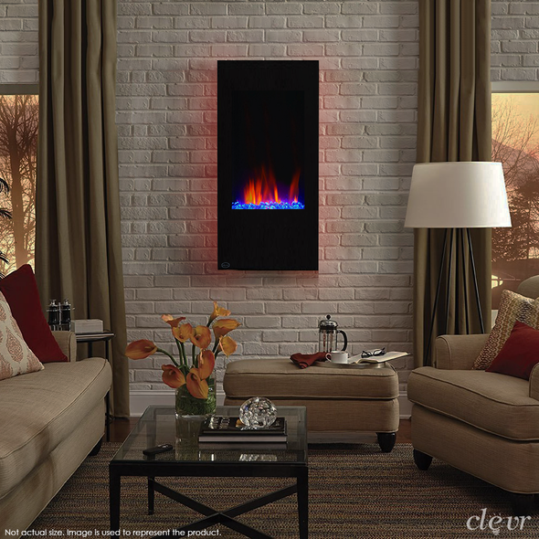"Clevr 32"" Vertical Adjustable Wall Mounted Electric Fireplace Heater with Backlight, 750-1500W (CL_CRS501932) - Main Image"
