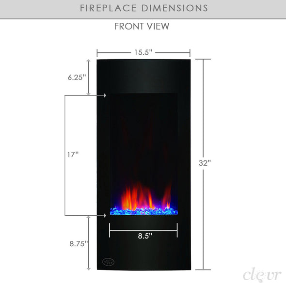 "Clevr 32"" Vertical Adjustable Wall Mounted Electric Fireplace Heater with Backlight, 750-1500W (CL_CRS501932) - Alt Image 4"