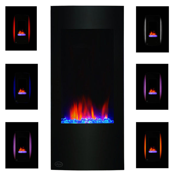 "Clevr 32"" Vertical Adjustable Wall Mounted Electric Fireplace Heater with Backlight, 750-1500W (CL_CRS501932) - Alt Image 2"