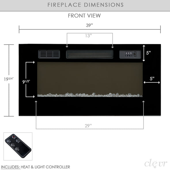 "Clevr 39"" Adjustable Glass Electric Wall Mount Fireplace Heater Stone Colors with Backlight, Black (CL_CRS501934) - Alt Image 4"