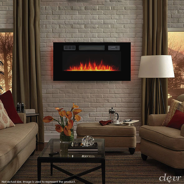 "Clevr 39"" Adjustable Glass Electric Wall Mount Fireplace Heater Stone Colors with Backlight, Black (CL_CRS501934) - Main Image"