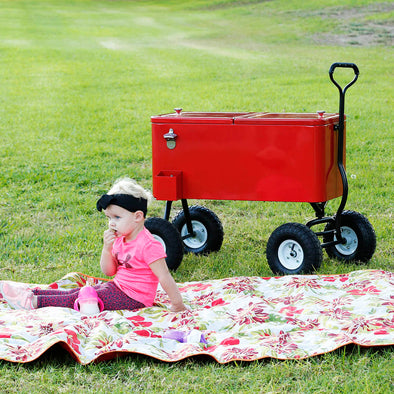 [product_tag] , Clevr 80 Qt Rolling Cooler Wagon Ice Chest Patio Outdoor Picnic Portable Red - Crosslinks