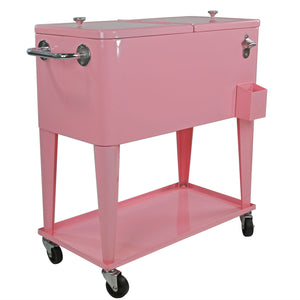 [product_tag] , Clevr Retro 80 Quart Rolling Cooler Ice Chest Patio Outdoor Portable, Pink - Crosslinks