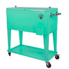 Home Aesthetics Retro 80 Quart Rolling Cooler Cart Ice Chest Patio Outdoor Portable, Seafoam (CL_HOM502905) - Main Image