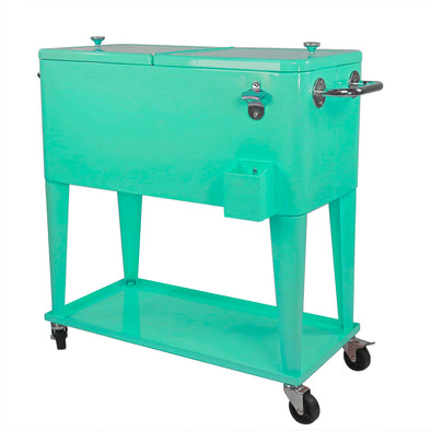 [product_tag] , Clevr Retro 80 Quart Rolling Cooler Ice Chest Patio Outdoor Portable, Seafoam - Crosslinks