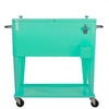 Home Aesthetics Retro 80 Quart Rolling Cooler Cart Ice Chest Patio Outdoor Portable, Seafoam (CL_HOM502905) - Alt Image 2
