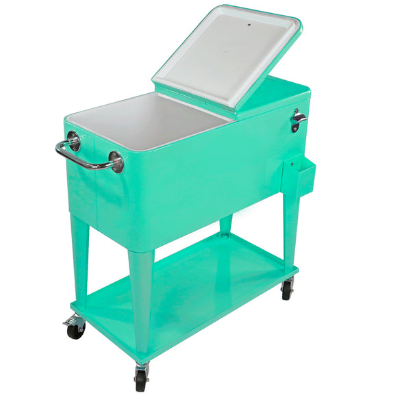 Home Aesthetics Retro 80 Quart Rolling Cooler Cart Ice Chest Patio Outdoor Portable, Seafoam (CL_HOM502905) - Alt Image 3