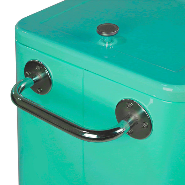 Home Aesthetics Retro 80 Quart Rolling Cooler Cart Ice Chest Patio Outdoor Portable, Seafoam (CL_HOM502905) - Alt Image 4
