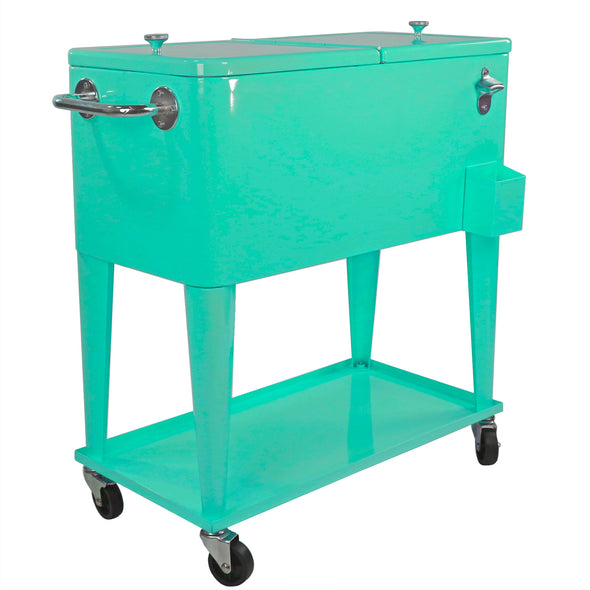 Home Aesthetics Retro 80 Quart Rolling Cooler Cart Ice Chest Patio Outdoor Portable, Seafoam (CL_HOM502905) - Alt Image 6