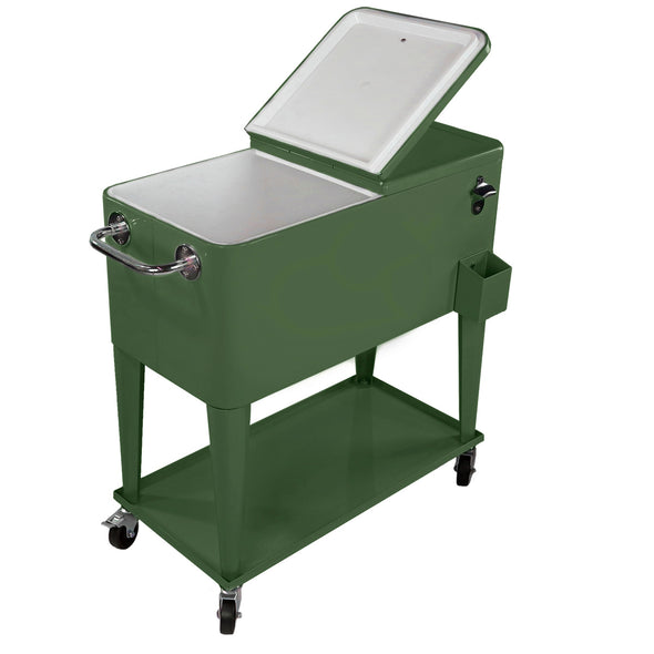 [product_tag] , Clevr Retro 80 Quart Rolling Cooler Ice Chest Patio Outdoor Portable, Hunter Green - Crosslinks