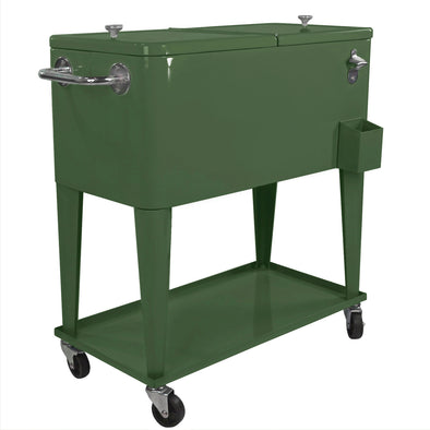Clevr Retro 80 Quart Rolling Cooler Ice Chest Patio Outdoor Portable, Hunter Green (CL_CRS502906) - Main Image
