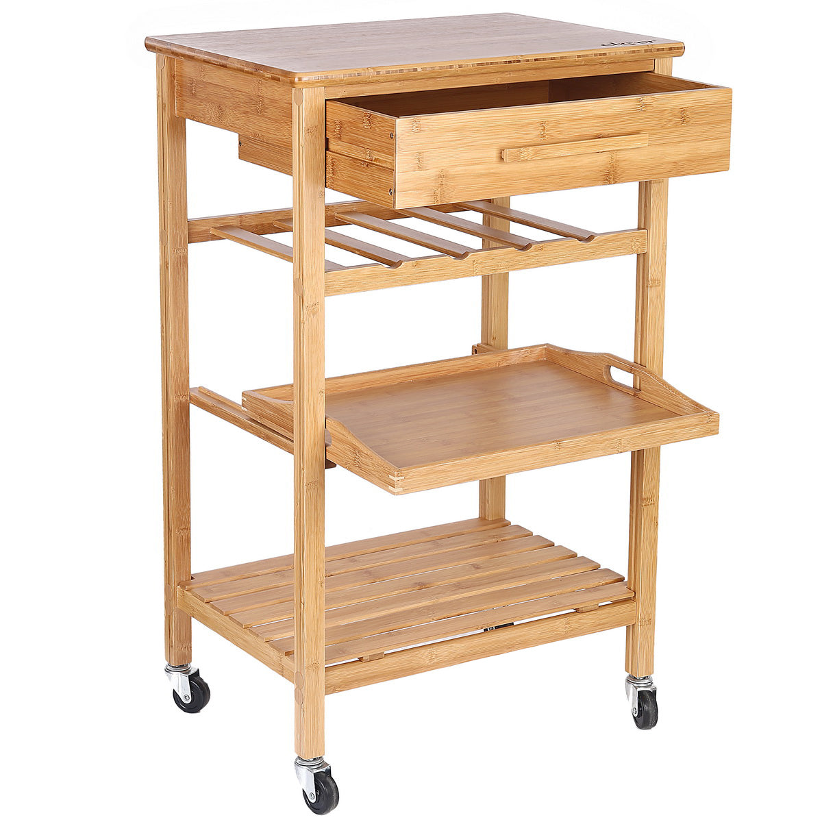... Clevr Rolling Bamboo Kitchen Island Storage Cart With Wine Rack, Drawer  U0026 Shelves (CL_CRS503301 ...