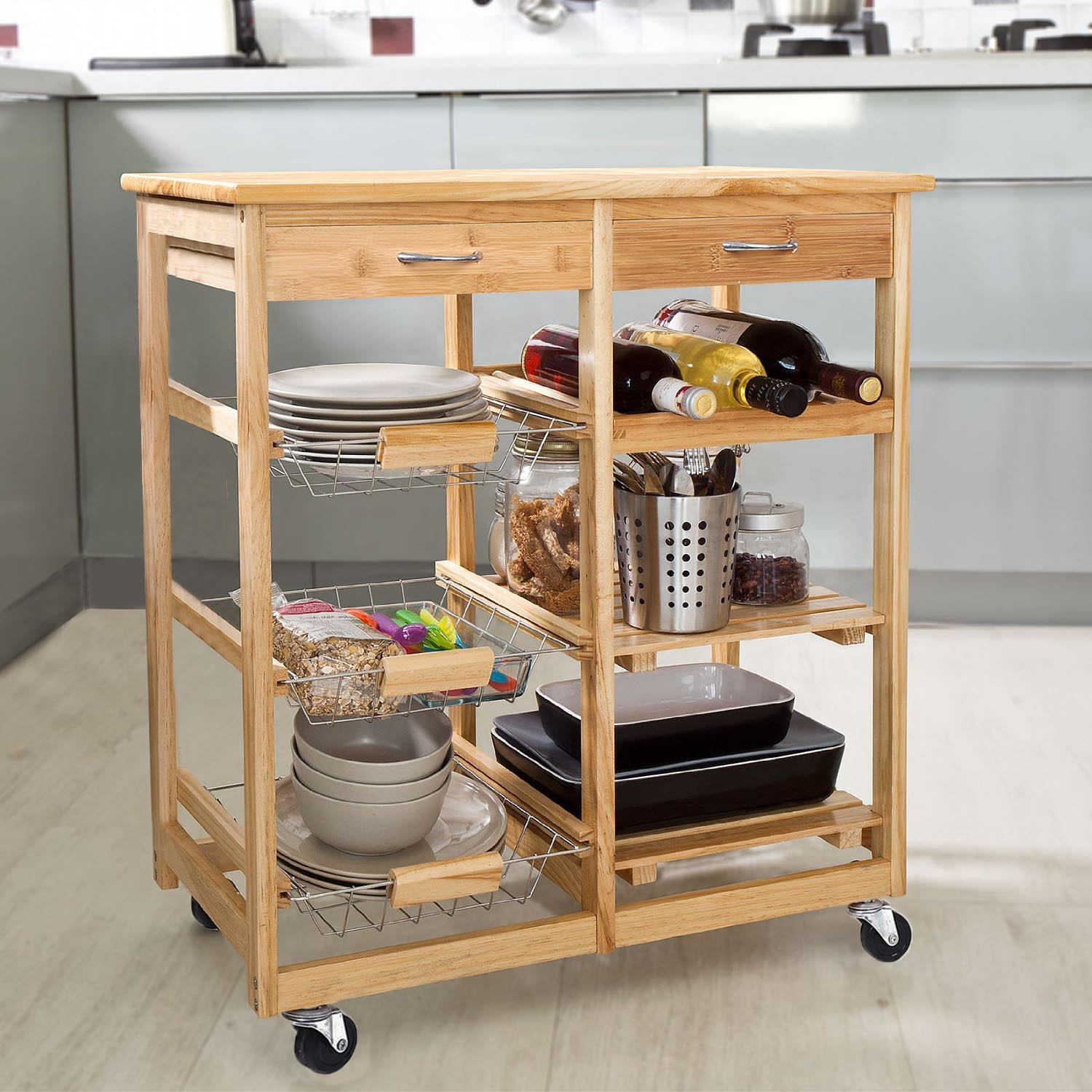 Zeny Rolling Kitchen Storage Cart Wood Dining Trolley W 2 Drawers And Shelves