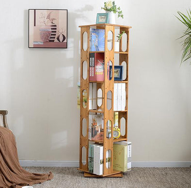 "[product_tag] , Modern Revolving 57.5"" Bamboo Bookcase 5-Tier Book Shelves Cabinet - Crosslinks"