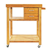 Clevr Rolling Bamboo Trolley Island Cart with Towel Rack (CL_CRS503307) - Alt Image 2