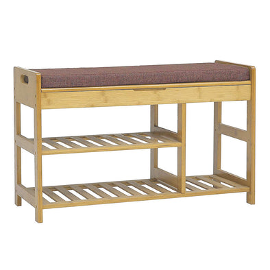 Clevr Natural Bamboo Shoe Storage Rack Bench with 2-Tier Storage Drawer on Top (CL_CRS503308) - Main Image