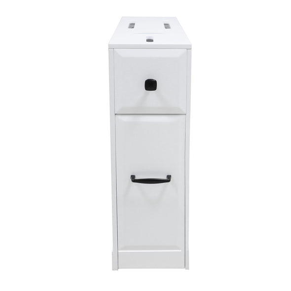 Clevr Free-Standing Toilet Paper Holder Bathroom Cabinet SlideOut Drawer Storage White (CL_CRS503309) - Alt Image 3