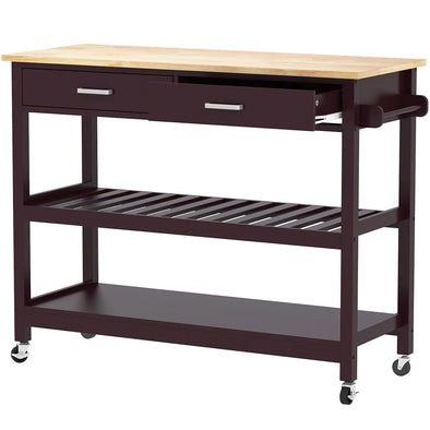 Clevr Rubberwood Rolling Kitchen Cart Island Trolley, 2 Drawer/Shelves/Rack, walnut colored (CL_CRS503310) - Main Image