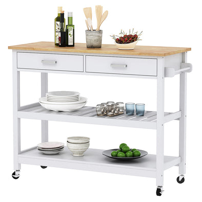 [product_tag] , Clevr Rubberwood Rolling Kitchen Cart Island Trolley, 2 Drawer/Shelves/Rack, White Colored - Crosslinks
