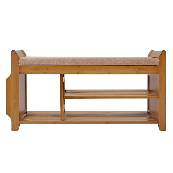 "Home Aesthetics 39"" 2-Tier Bamboo Shoe Rack Bench Storage with Drawer Padded Cushion (CL_HOM503313) - Alt Image 1"