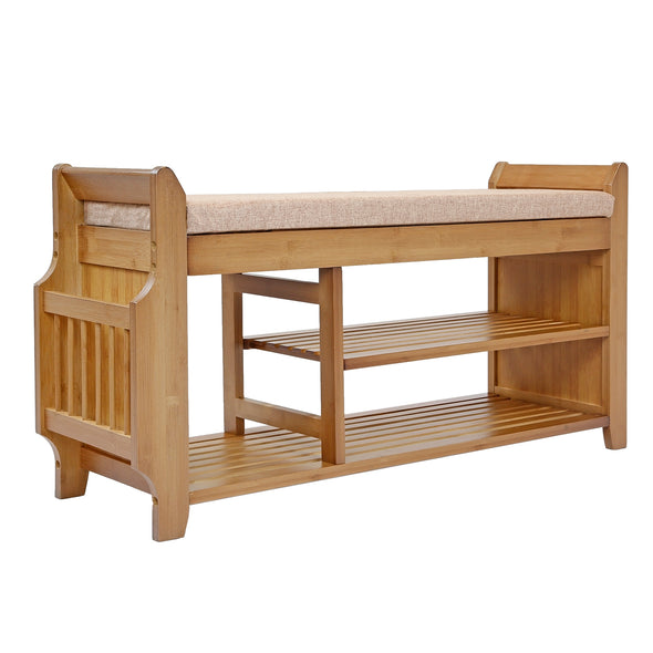 "[product_tag] , 39"" 2-Tier Bamboo Shoe Rack Bench Storage with Drawer Padded Cushion - Crosslinks"