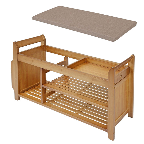 "Home Aesthetics 39"" 2-Tier Bamboo Shoe Rack Bench Storage with Drawer Padded Cushion (CL_HOM503313) - Alt Image 2"