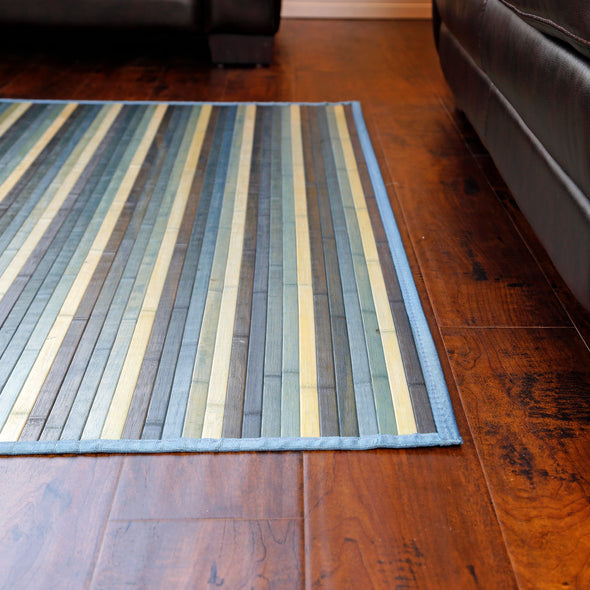 Venice Natural Bamboo 5' X 8' Floor Mat, Blue/Green Area Rug Indoor Carpet (CL_CRS503405) - Alt Image 3