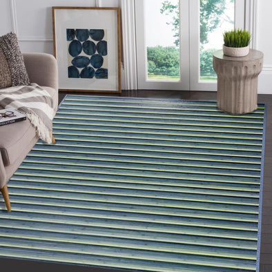 [product_tag] , Venice Natural Bamboo 5' X 8' Floor Mat, Blue/Green Area Rug Indoor Carpet - Crosslinks