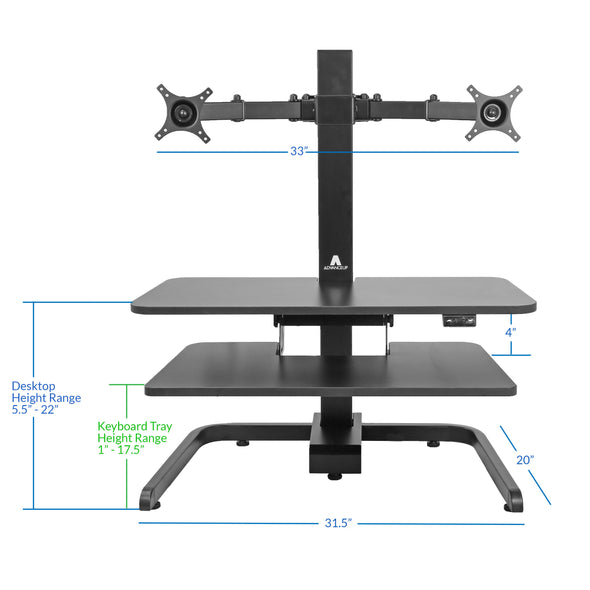 AdvanceUp Electric Automatic Standing Desk Converter Riser with Dual Monitor Mount, Black (CL_ADV503605) - Alt Image 2