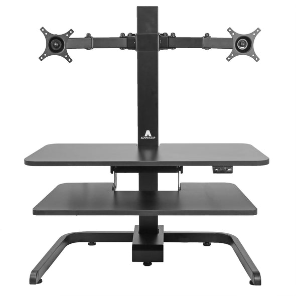 AdvanceUp Electric Automatic Standing Desk Converter Riser with Dual Monitor Mount, Black (CL_ADV503605) - Alt Image 9
