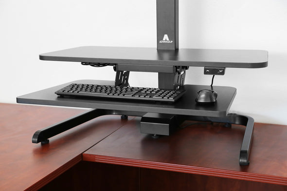 AdvanceUp Electric Automatic Standing Desk Converter Riser with Dual Monitor Mount, Black (CL_ADV503605) - Alt Image 8