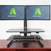 AdvanceUp Electric Automatic Standing Desk Converter Riser with Dual Monitor Mount, Black (CL_ADV503605) - Alt Image 1