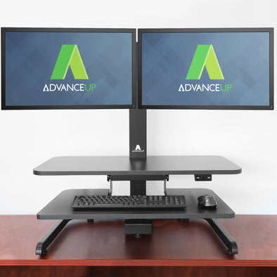 AdvanceUp Electric Automatic Standing Desk Converter Riser with Dual Monitor Mount, Black (CL_ADV503605) - Main Image