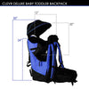 ClevrPlus Deluxe Lightweight Baby Backpack Child Carrier, Blue (CL_CRS600221) - Alt Image 6