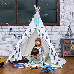 LoveTree LoveTree 4-Pole Teepee Kids Indoor Princess Play House Tent Black White Trees (CL_CRS600958) - Main Image
