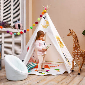 LoveTree 5-Pole Kids Teepee Play House Tent Embroidery Elephant & Giraffe, White (CL_CRS600959) - Main Image