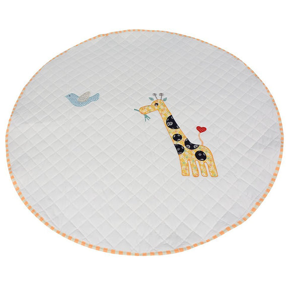 LoveTree Round White Kids Canvas Cushion Anti skid Door Mat Carpet Rug, Giraffe (CL_CRS600991) - Alt Image 1