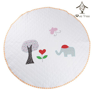 LoveTree Round White Kids Canvas Cushion Anti skid Door Mat Carpet Rug, Elephant (CL_CRS600992) - Main Image