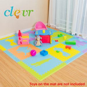 [product_tag] , Safari 9-Pieces 2'x2' Foam Interlocking Anti-Fatigue Mat Kids Play Mat - Crosslinks